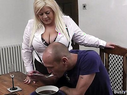 Busty blond secretary posing and missionary in stockings