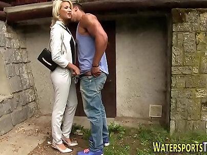 Banged slut piss outside