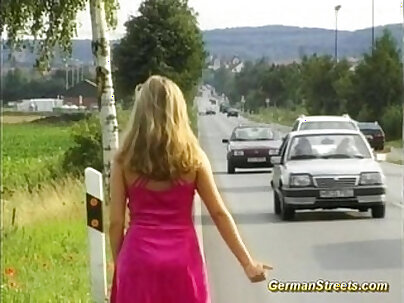 Bustier teen fucks double fisted German lads