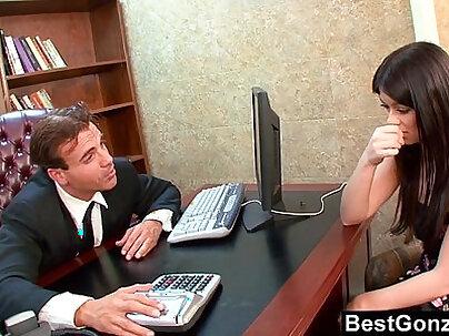 Busty secretary fucks her guy hard