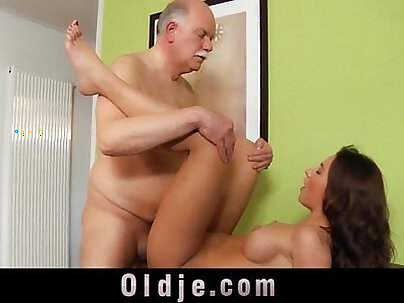 Old majordom serve fuck to young mistress