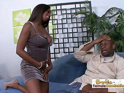Curvy busty ebony slut fucks her horny daddy on the couch