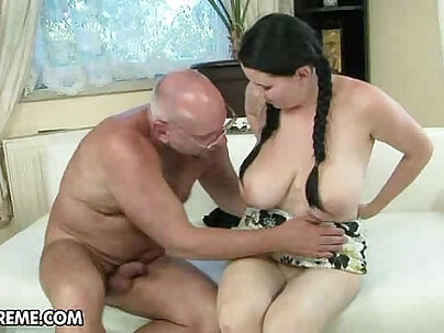 Naughty young brunette with huge tits gets fucked by insane