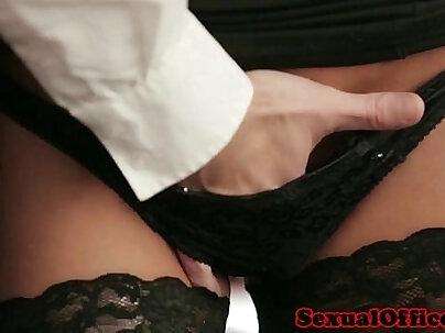 Beautiful boss in office masturbation in stockings