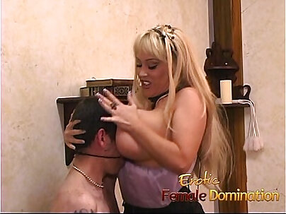 Horny stud enjoys some kinky fun with busty blonde looker