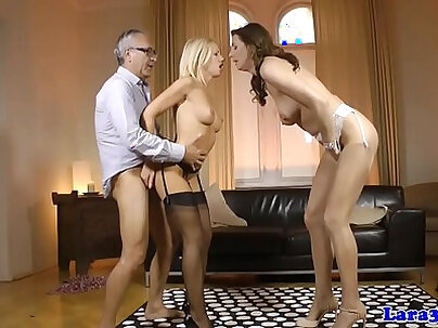 English milf sucking and fucking cock and wanking it off