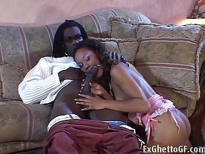 Black girl fucks a monster black cock