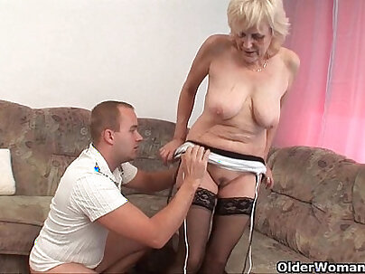 Horny pretty amateur in stockings gets facial