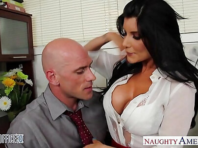Lustful office babe spitroasted in the thigh high