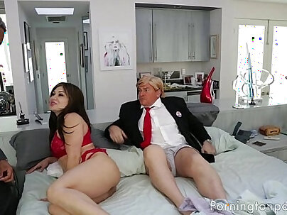 Couple have dirty sex and fuck with cuckold