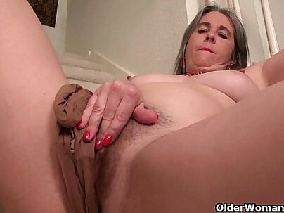 Sexy Granny Bukkake and Fingering Ass