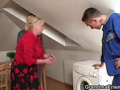 Hot leg spread fucks grandma on bed