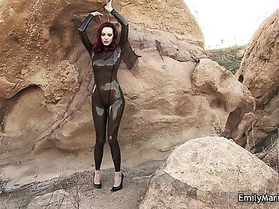 Emily Marilyn fetish model in latex catsuit