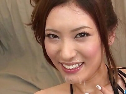 Yui Kasuga fucked hard with their toys and jizzed on face
