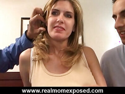 Busty wife double fucked and painful facial after
