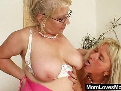 Big titted gramma penetrates a madame