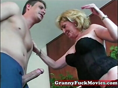 Cheating granny grinds after teasin with young man