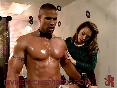 Busty brunette babe sucks and fucks muscle guy with strapon cock and rides his dick