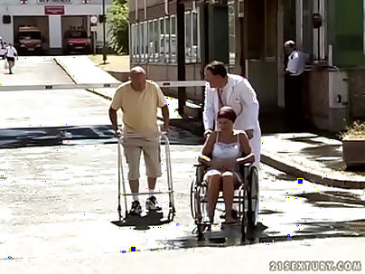 Granny is pissing on his face as she enjoys it in every way