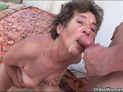 Hairy Old Granny with Big Tits Tries Anal