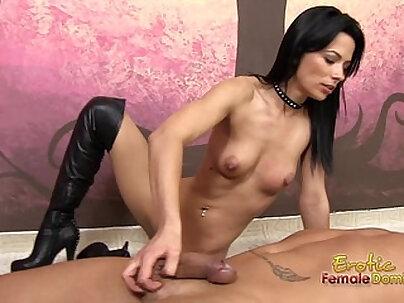 Boots domination hand job with dark vixen