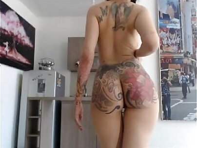 tattooed nude girl with nipple piercing gets her ass spanked